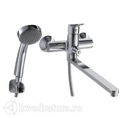 Смеситель для ванны Bravat F64898CLB Drop с длинным изливом и душевой лейкой