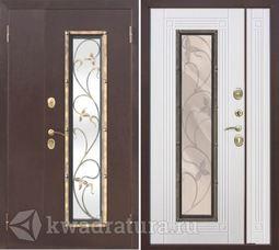 Входная металлическая дверь со стеклопакетом Плющ Белый ясень 1200,1300