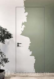 Скрытая дверь невидимка Invisible под покраску с алюминиевой матовой кромкой 2 стороны