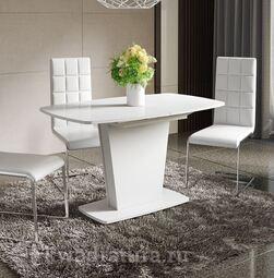 Стол обеденный Честер Тип 2 Белый/Стекло белый глянец