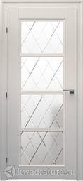 Межкомнатная дверь Краснодеревщик 3340 Ф Белый ДО Цветное стекло