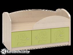 Маугли Кровать с ящиками бежевая/зеленая