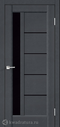 Межкомнатная дверь VellDoris Premier 3 Ясень графит стекло Лакобель черн