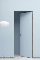 Скрытая дверь Invisible Revers внутреннего открывания под покраску с алюминиевой матовой кромкой