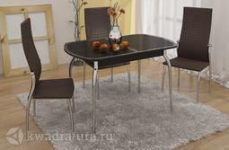 Стол обеденный Ницца металл-Кожа коричневая-Стекло с рисунком коричневое