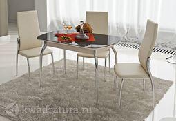 Стол обеденный Милан Дуб-стекло коричневое