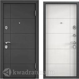 Дверь входная стальная Торэкс Delta М 10 ПВХ Темный пепел D23/КТ Белый D23
